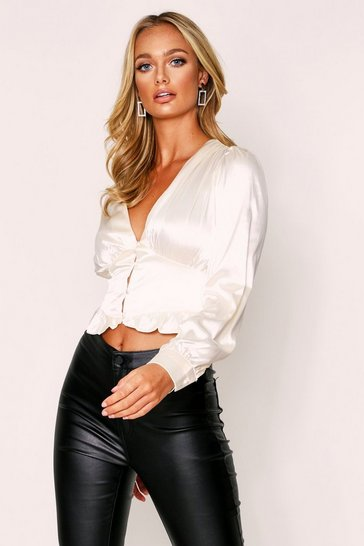 Womens Cream Satin Ruffle Hem Long Sleeve Top