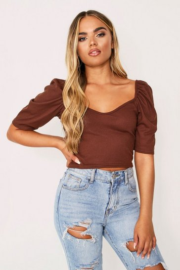 Womens Chocolate Puff Sleeve Plunge Rib Top