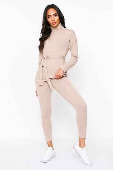 Womens Camel Long Sleeve Belted Top With Legging