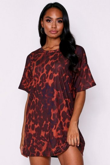 Brown Animal Print T-Shirt Dress