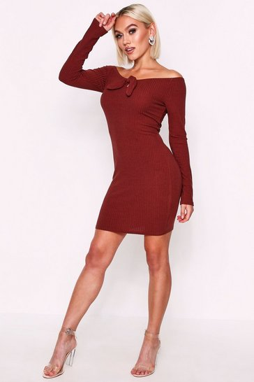 Chocolate Long Sleeve Tie Front Rib Mini Dress