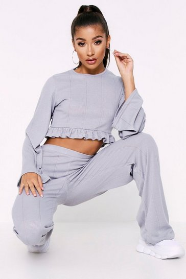 Womens Grey Ruffle Hem Long Sleeve Wide Leg Pointelle Lounge Set