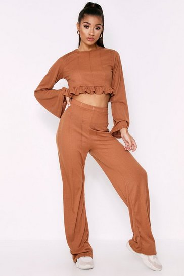 Womens Tan Ruffle Hem Long Sleeve Wide Leg Pointelle Lounge Set