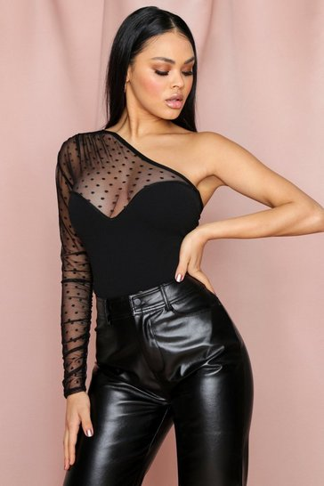 Womens Black One Shoulder Dobby Mesh Body High Leg Body