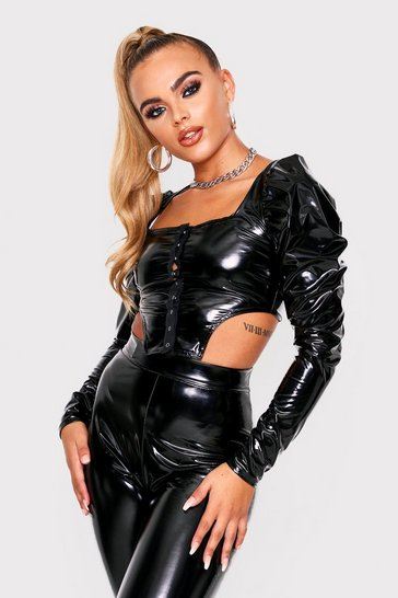 Womens Black Popper V Shaped Vinyl Top
