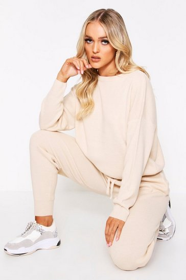 Womens Stone Knitted Jumper & Jogger Co-Ord