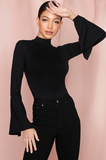 Black Rib High Neck Wide Sleeve Thong Bodysuit