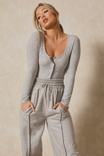 Grey Popper Front High Leg Ribbed Bodysuit