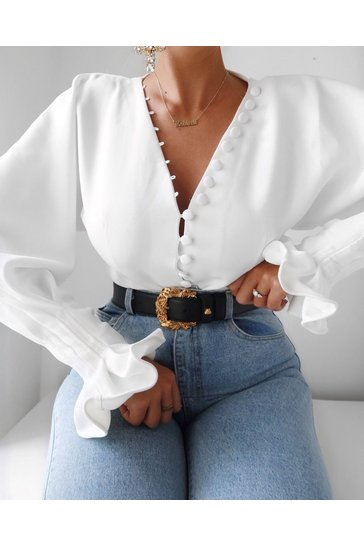 Womens White Button Front Balloon Sleeve Shirt