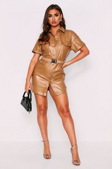 Womens Camel PU Belted Dress