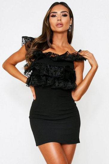 Womens Black Polka Dot Organza Ruffle Detail Dress