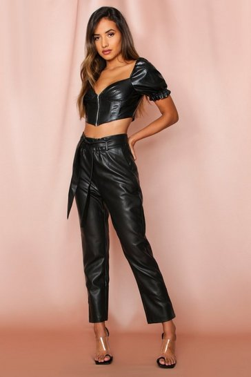 Black Faux Leather Belted Paperbag Pants