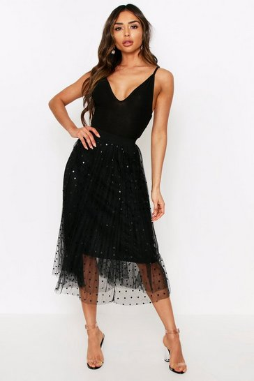 Black Polka Dot Tulle Skirt