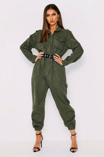 Womens Khaki Denim Belted Utility Jumpsuit