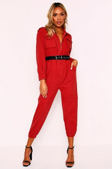 Womens Rust Denim Belted Utility Jumpsuit