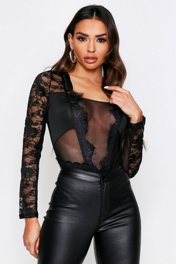 Womens Black Long Sleeve Eyelash Lace Plunge Bodysuit