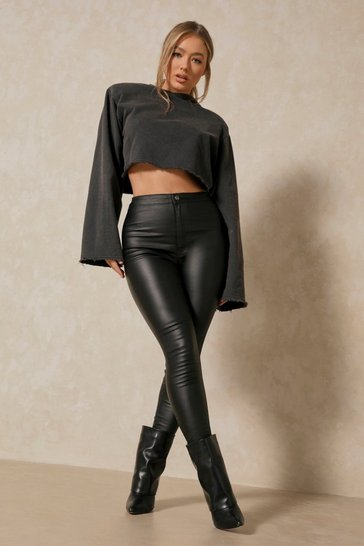 Womens Black PU Effect Coated Skinny Jeans