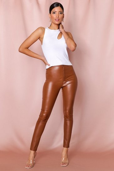 Camel Faux Leather Effect Coated Skinny Jeans