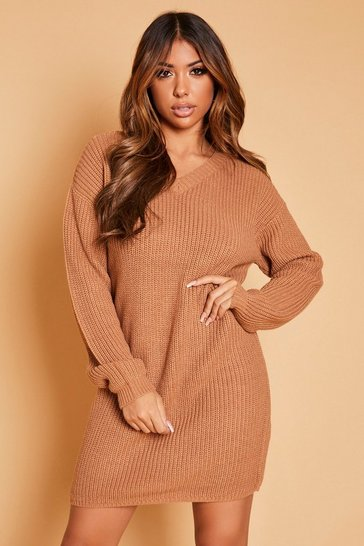 Womens Biscuit V-Neck Fisherman Jumper Dress