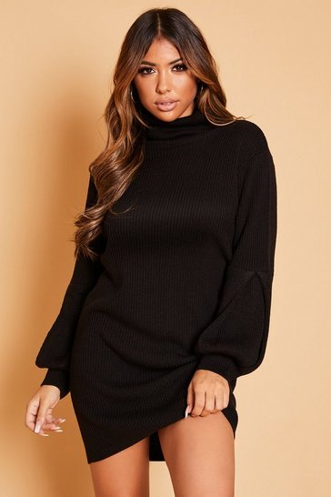 Black Roll Neck Balloon Sleeve Jumper Dress
