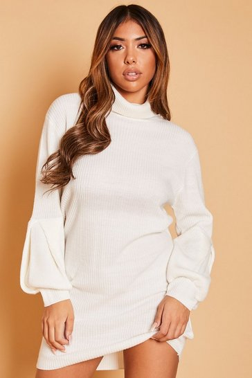 Cream Roll Neck Balloon Sleeve Jumper Dress