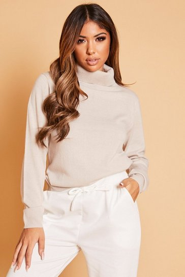 Mushroom Roll Neck Knitted Jumper