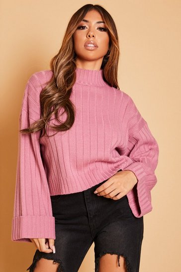 Womens Antique rose Wide Sleeve Rib Knit Jumper