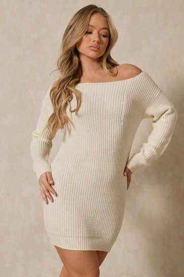Womens Ecru Slash Neck Fisherman Jumper Dress