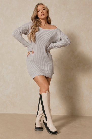 Silver Slash Neck Fisherman Jumper Dress