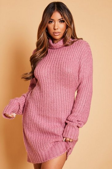 Antique rose Roll Neck Oversized Jumper