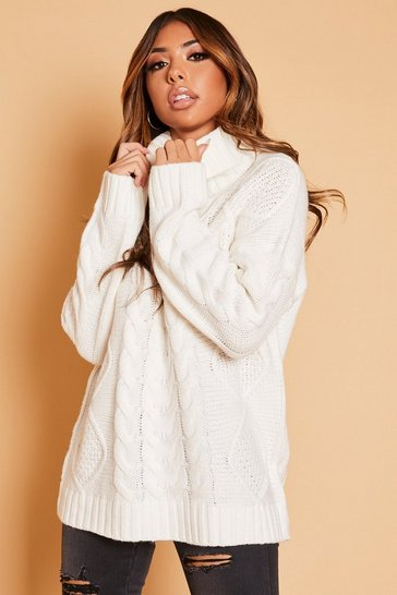 Womens Cream Roll Neck Cable Knit Jumper