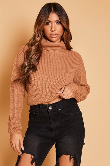 Womens Biscuit Cropped Fisherman Knit Roll Neck Jumper