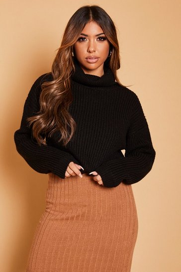 Womens Black Cropped Fisherman Knit Roll Neck Jumper