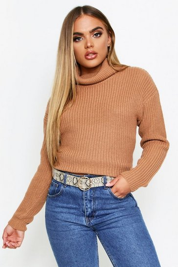 Womens Biscuit Fisherman Roll Neck Jumper