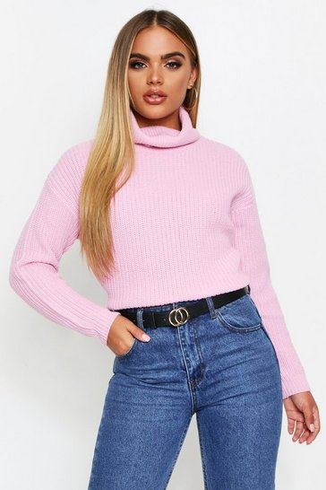Womens Pastel pink Fisherman Roll Neck Jumper