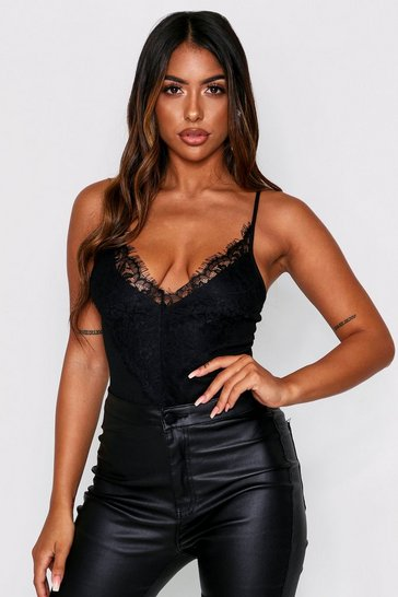 Womens Black Lace Trim Ribbed Bodysuit