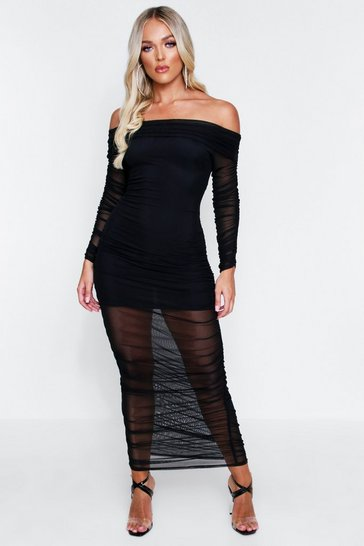 Black Ruched Mesh Bardot Midi Dress