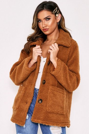 Tan Button Front Teddy Boyfriend Jacket
