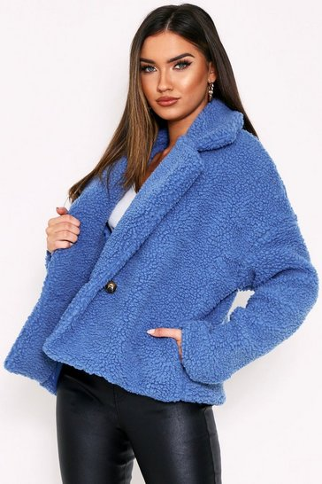 Womens Blue Button Front Teddy Biker Jacket