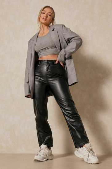 Womens Black High Waisted Straight Leg PU Trousers