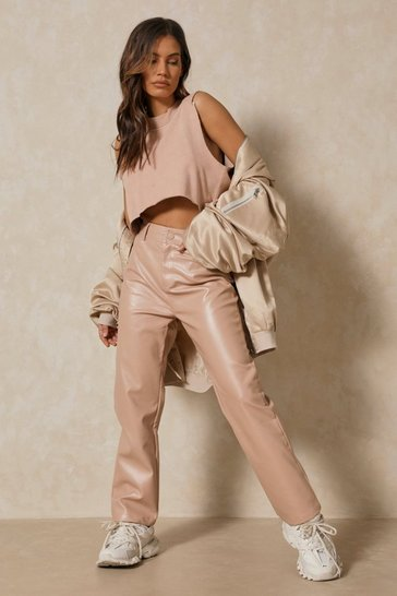Stone Leather Look High Waisted Straight Leg Trousers