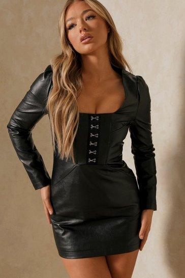 Black Hook & Eye Detail Faux Leather Dress