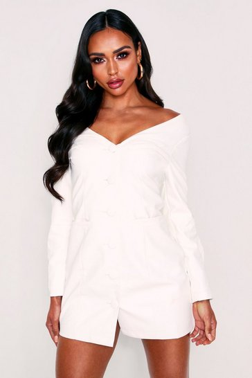 Womens White Off Shoulder Button Front Pu Blazer Dress