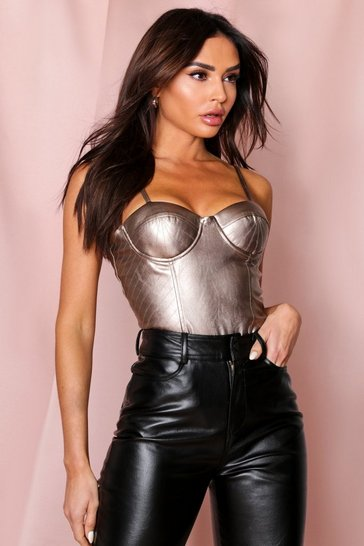 Bronze Stitch Detail Cupped Leather look Thong Bodysuit
