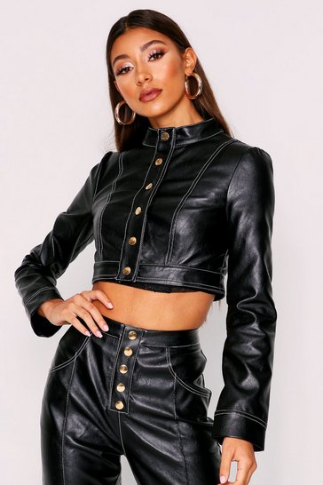 Womens Black Contrast Stitch Cropped Pu Jacket