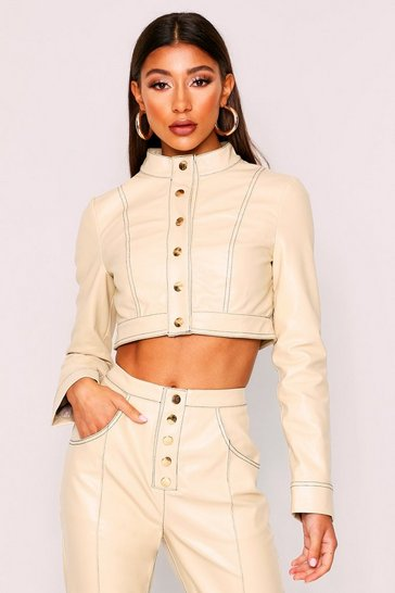 Womens Stone Contrast Stitch Cropped Pu Jacket