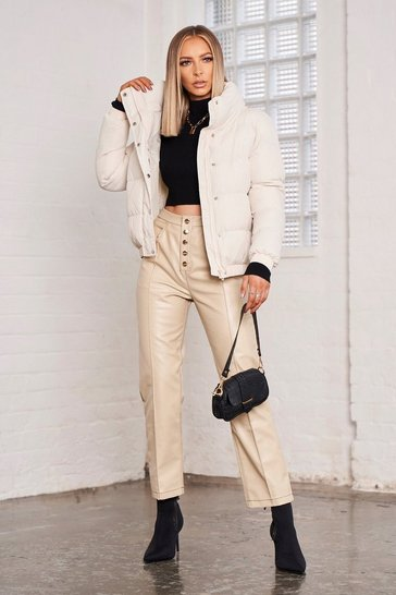 Womens Stone Contrast Stitch Straight Leg Pu Trousers