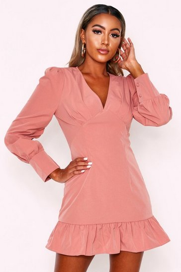 Pink Frill Hem Puff Sleeve Dress