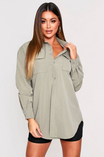 Womens Khaki Pocket Detail Belted Shirt Dress