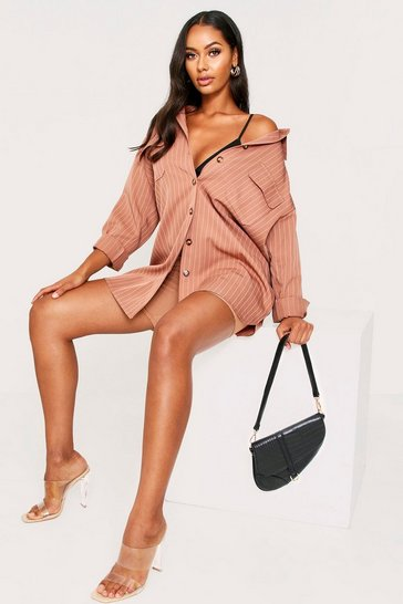 Womens Camel Pinstripe Pocket Detail Shirt Dress